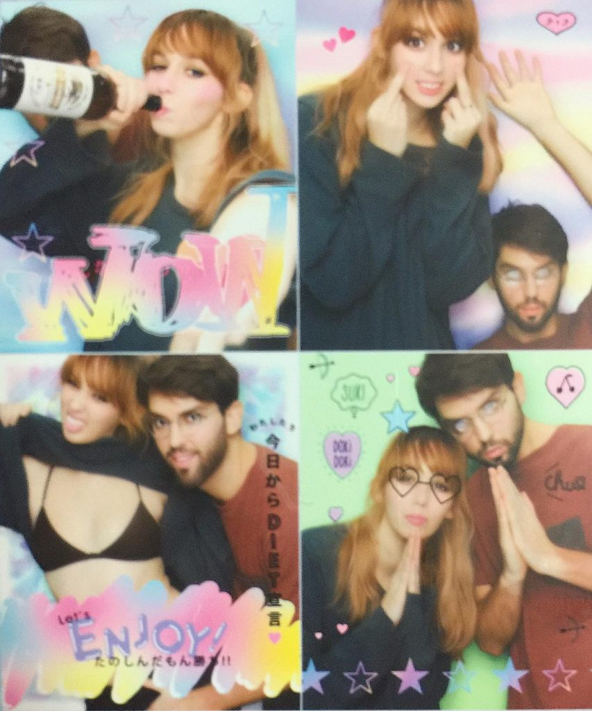 Caitlin & Andrew being feisty in a Purikura booth